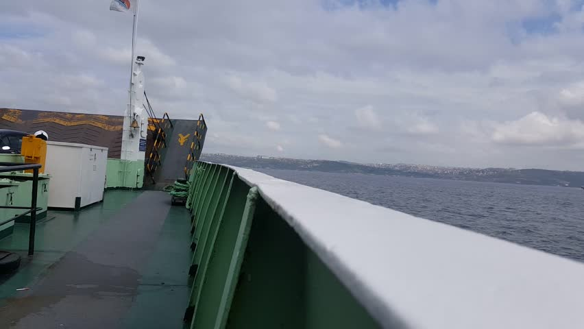 ISTANBUL - MAY 20, 2017: Ro-ro ship carrying cars and cargo truck, operates on Eskihisar - Topcular Line. A shortcut for Gemlik Bay in order to reach Bursa and Southern destinations from Istanbul.