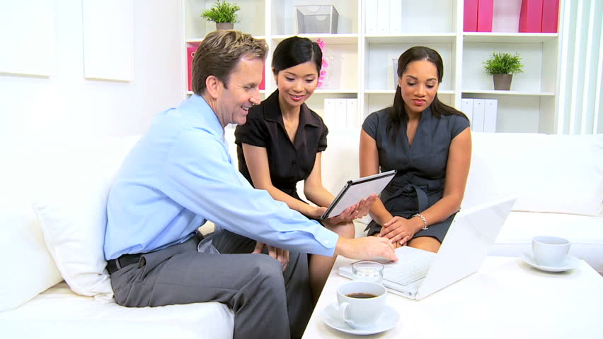 Multi Ethnic Business People Meeting With Corporate Client Modern