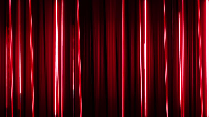 Computer Generated Abstract Footage With Illuminated Red Vertical Stripes Moving Against Dark Background