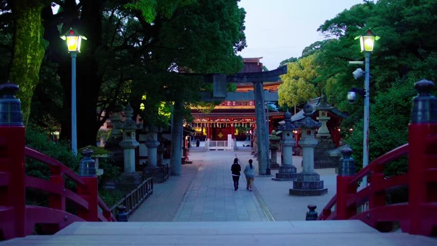 Straight, perspective footpath in Dazaifu Tenmangu shrine at night | Shutterstock HD Video #27034477