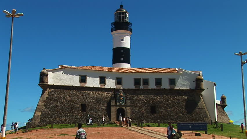 SALVADOR, BRAZIL - April 2008: Landmark site of Barra Lighthouse in Salvador, Bahia, Brazil