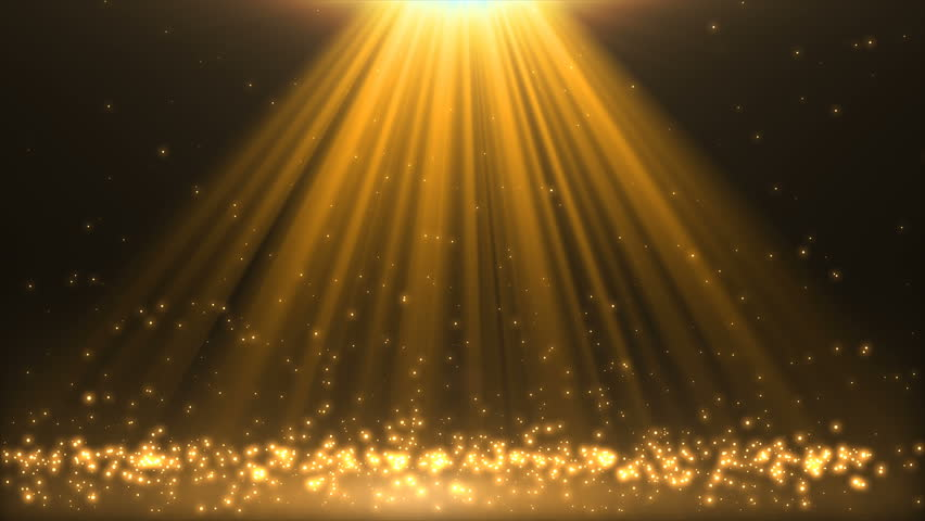 Abstract golden shimmering background. Gold glitter bokeh particles. Stage floor for display your product