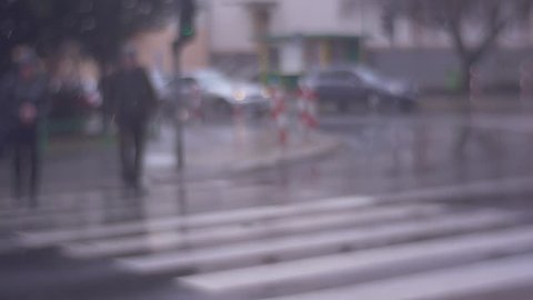 People go in the Rain, the Residents of the City, Men and Women Cross the Street on a Green Traffic Light, Someone in the Hood and Some of Them With an Umbrella, Cars With Lights on Waiting For the