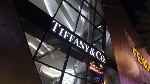Tiffany and Co Exclusive shops at Crystals - a modern mall at Las Vegas City Center - LAS VEGAS / NEVADA - APRIL 23, 2017