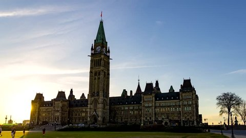 The Parliament of Canada in Ottawa, Ontario - Day to Night Time