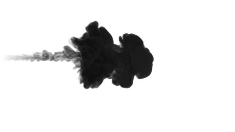One ink flow, infusion black dye cloud or smoke, ink inject on white in slow motion. Black gouache pass through water. Inky background or smoke backdrop, for ink effects use luma matte like alpha mask