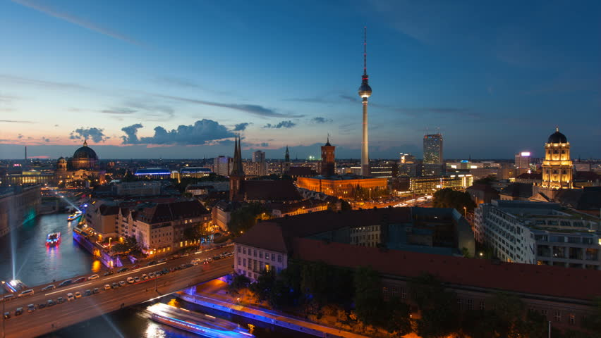 Berlin Skyline Light City Timelapse with Speed Boats and Traffic in Full HD 1080p, German Capital