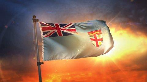 Fiji Flag Backlit At Beautiful Sunrise Loop Slow Motion 4K