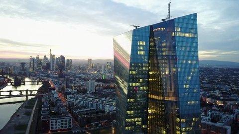 Frankfurt/Main Skyline Aerial Drone Shot