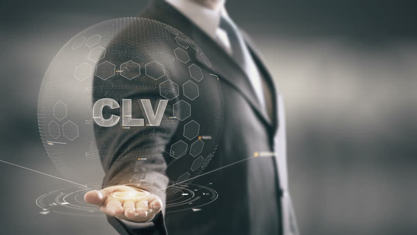 CLV with hologram businessman concept