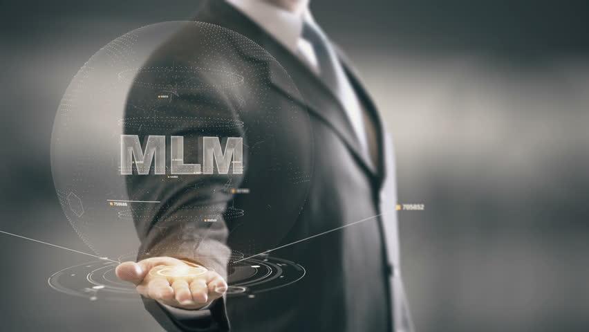 MLM with hologram businessman concept