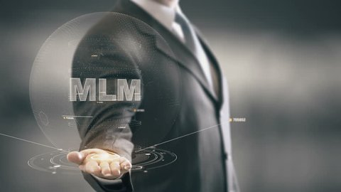 MLM with hologram businessman concept