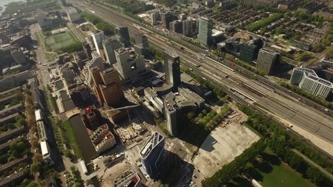 Aerial of Amsterdam business and finance center South Axis - Zuidas