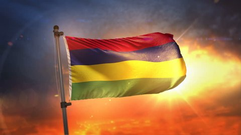Mauritius Flag Backlit At Beautiful Sunrise Loop Slow Motion 4K