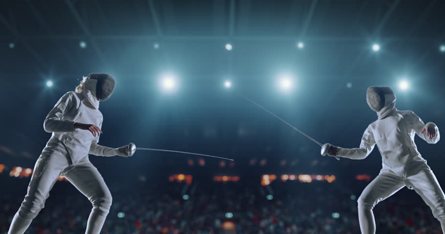 4K video in slow motion of two female fencing athletes. The action takes place on professional sports arena with spectators and lense-flares. Women wear unbranded sports clothes. Arena is made in 3D. | Shutterstock HD Video #27274327