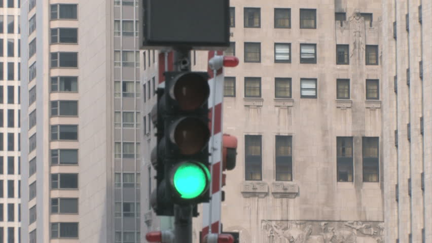 Traffic Lights in Chicago with skyscrapers in the background