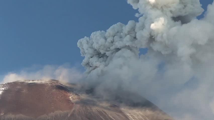 Tungurahua volcano in Ecuador, high presure gases and ash are blown into the sky