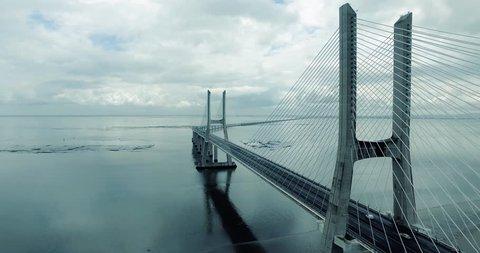Aerial view of the Vasco da Gama bridge in Lisbon, Portugal. Top view of the longest bridge in Europe.