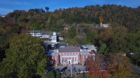 Aerial views of Berkeley Springs, WV revealing the intimacy and grandness of the mountains and countryside that surround this small town USA.