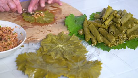 Turkish cuisine. Homemade Sarma - Rice wrapped in grape leaves
