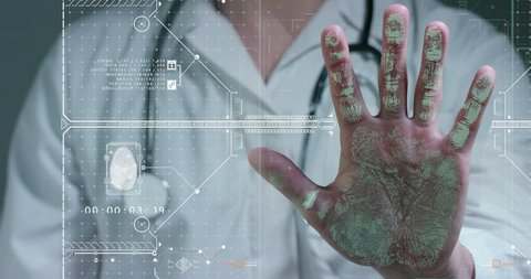 A futuristic doctor, a surgeon, scans the palm of a technological digital holographic panel, a hologram of prints, a medical white robe, a stethoscope. Concept futuristic medicine, doctors, future new