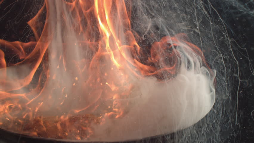 Close-Up Flaming Pan in Super Slow Motion | Shutterstock HD Video #27350527