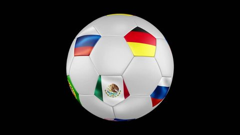 Rotation of a soccer ball with animated flags of the participating countries Confederations Cup 2017. 4K, 3840x2160. Seamless looping video. 3D rendering. Black screen.