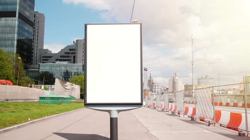 A Billboard with a Blank  Screen on a Busy  Street | Shutterstock HD Video #27375787