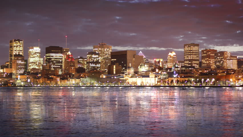 Montreal City Skyline Time Lapse at Night 01