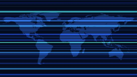 Worldmap template silhouette with stripes. World map for infographic. Available in 4K FullHD and HD video render footage.