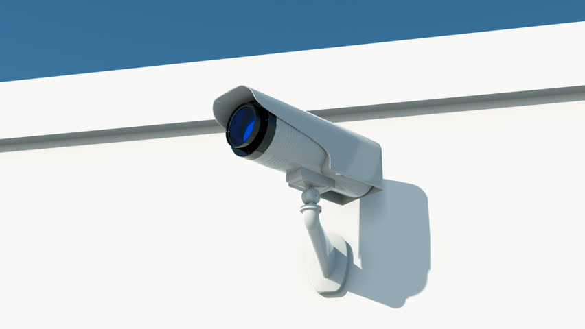 security camera on white wall
