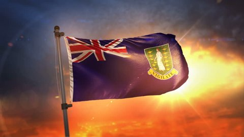British Virgin Islands Flag Backlit At Beautiful Sunrise Loop Slow Motion 3D Rendering 4K