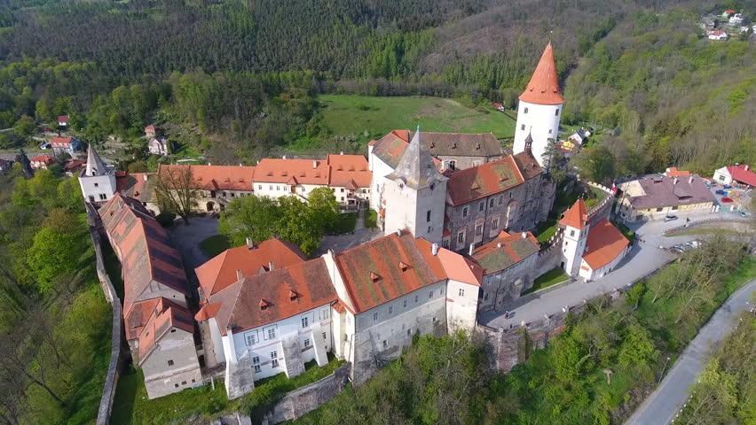 Aerial view of Medieval castle Krivoklat in Czech republic, Europe   Shutterstock HD Video #27468637