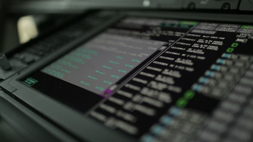 Close-up shot of airplane control screen   Shutterstock HD Video #27490057
