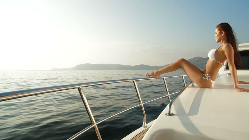 Bikini Woman Posing On Luxury Stock Footage Video 100 -5561