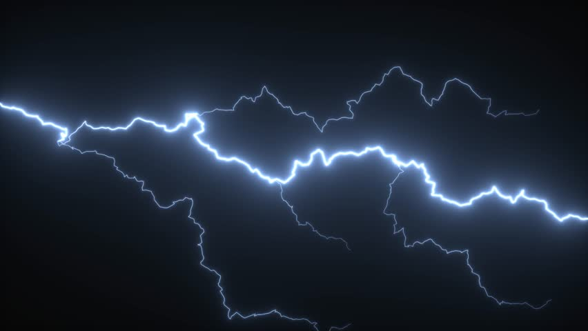 3D rendering of lightning strikes on a black background. 17 unique lightning bolts or strikes.
