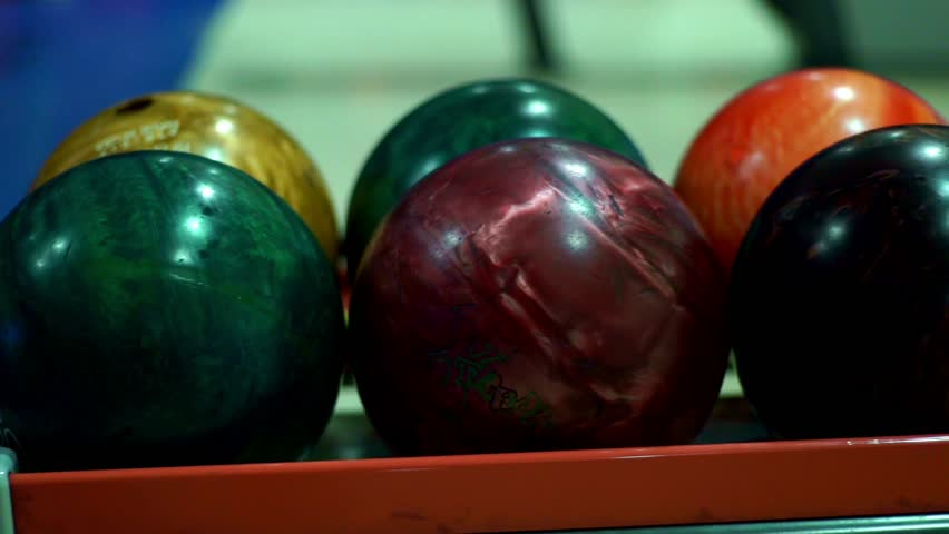 Multicolor bowling balls for bowling game close up