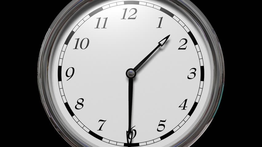 Time lapse, Time runs fast, zoom out of the clock moves fast twelve hours in sixteen seconds in, Black background
