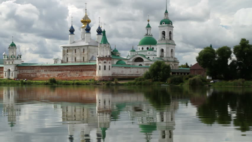 Spaso-Yakovlevsky monastery. Russia. Rostov the Great city. shot from a boat moving on the lake