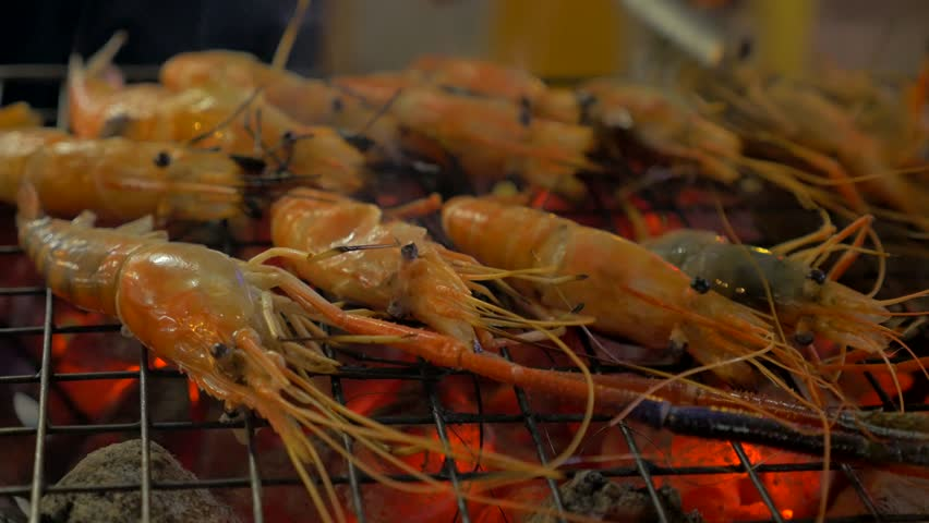 Delicious grill fresh seafood shrimp | Shutterstock HD Video #27541597