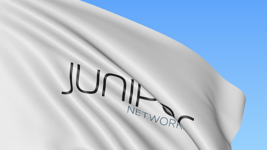 Waving Flag With Juniper Networks Logo 4k Editorial Animation Stock