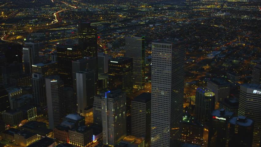 Denver, Colorado circa-2017, Aerial view of downtown Denver buildings at night