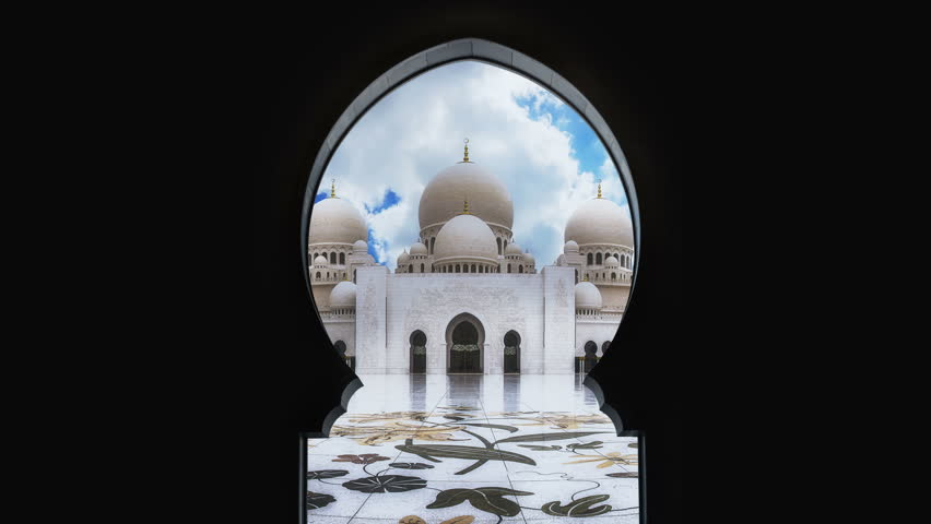 Sheikh Zayed Grand Mosque - Door perspective - Timelapse 4K