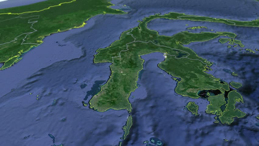 South Sulawesi Animation Map Provinces Of Indonesia Stock Footage