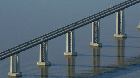 Aerial view of Antioch Bridge over San Joaquin River in northern California