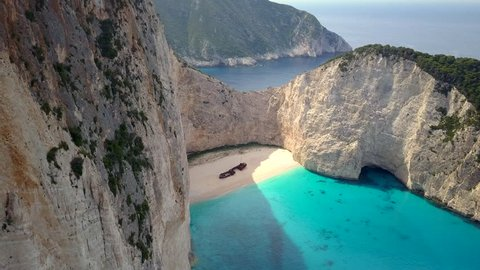 Cinematic Aerial Footage Shipwreck Bay, Navagio Beach, Zakynthos, Greece Color Graded