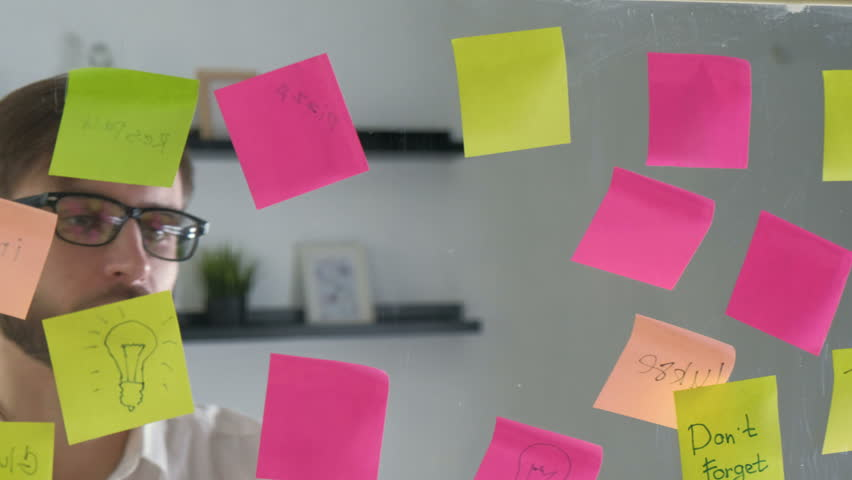 Note paper reminder schedule board. Business people meeting and use post it notes to share idea. Discussing - business, teamwork, concept 20s 4k. | Shutterstock HD Video #27610177