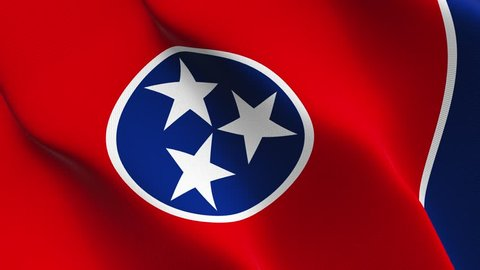Tennessee US State flag waving seamless loop in 4K and 30fps. United States of America tennessee loopable flag with highly detailed fabric texture.