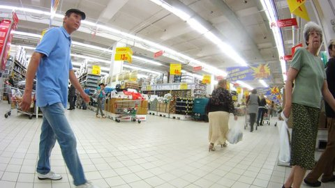 MOSCOW - JUN 15: (Timelapse View) People make purchases in Ashan hypermarket, on Jun 15, 2012 in Moscow, Russia. Auchan chain plans to launch its first Auchan Drive outlet in Moscow next year.