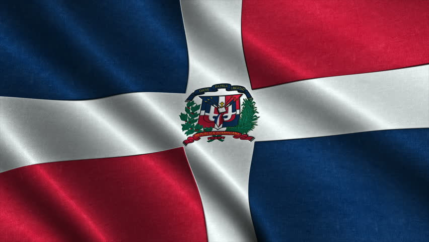 Flag Of The Dominican Republic Waving In Wind Detailed Fabric Texture Seamless Loopable Animation 4k High Definition Video Ilration